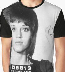 Jane Fonda Mug Shot Vertical Graphic T-Shirt
