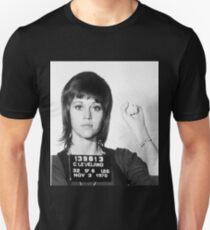 Jane Fonda Mug Shot Vertical Unisex T-Shirt