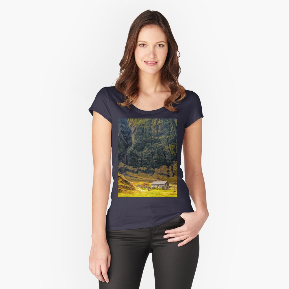 Cabin in the Wilderness Women's Fitted Scoop T-Shirt Front