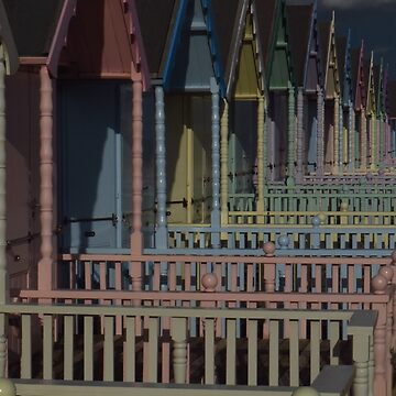Pastel Coloured Beach Huts by wiggyofipswich