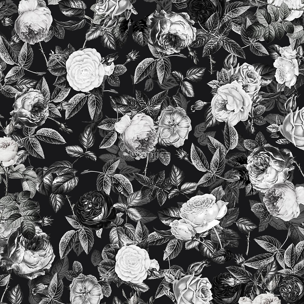 Vintage classy black and white roses