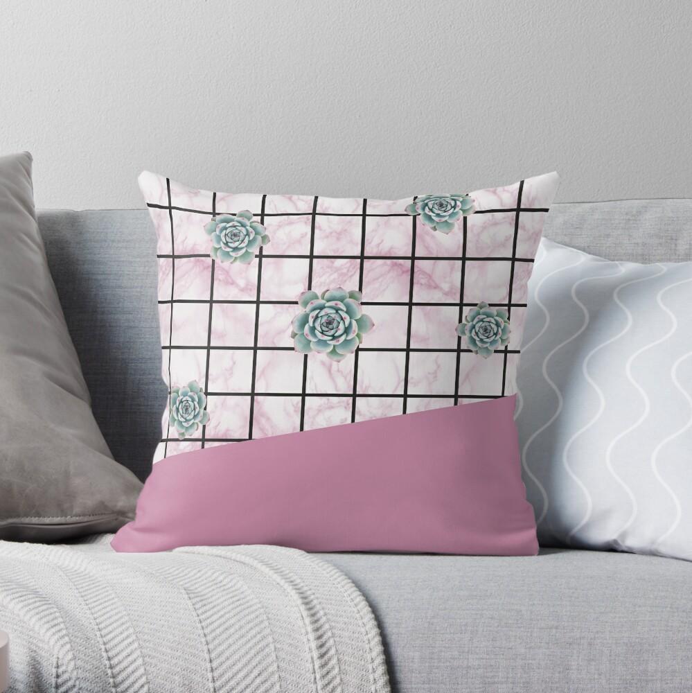Succulents geometric composition - Antique Pink Throw Pillow