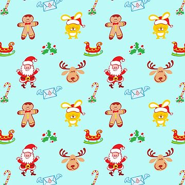 Cute Santa Claus, reindeer, bunny and cookieman in a Christmas pattern by Zoo-co