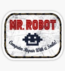 Mr Robot - computer repair with a smile! Sticker