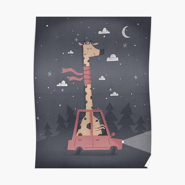 Giraffing Home for Christmas Poster