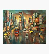 time square new york, oil painting Photographic Print