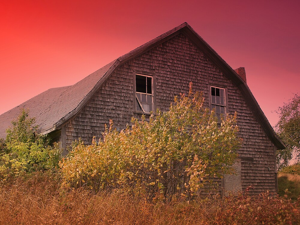 Red Sky Barn by Gene Cyr