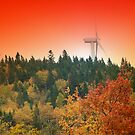 Maine Windmill At Sunset 3 by Gene Cyr