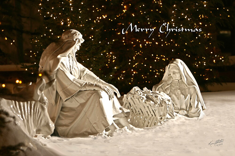 Manger Scene Christmas Card by Ken Fortie