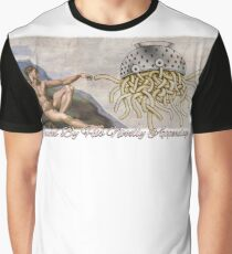 FSM Creation of Adam Touched By His Noodly Appendage Pastafarian Flying Spaghetti Monster Graphic T-Shirt