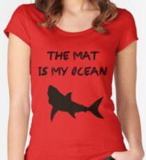 BJJ Brazilian Jiu-Jitsu Wrestling Grappling Mat Shark Women's Fitted Scoop T-Shirt
