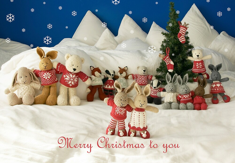 merry christmas little cotton rabbits by bunnyknitter