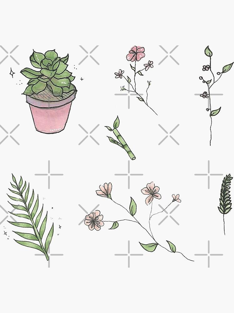 Hoja de pegatinas de plantas y flores de prismapansy