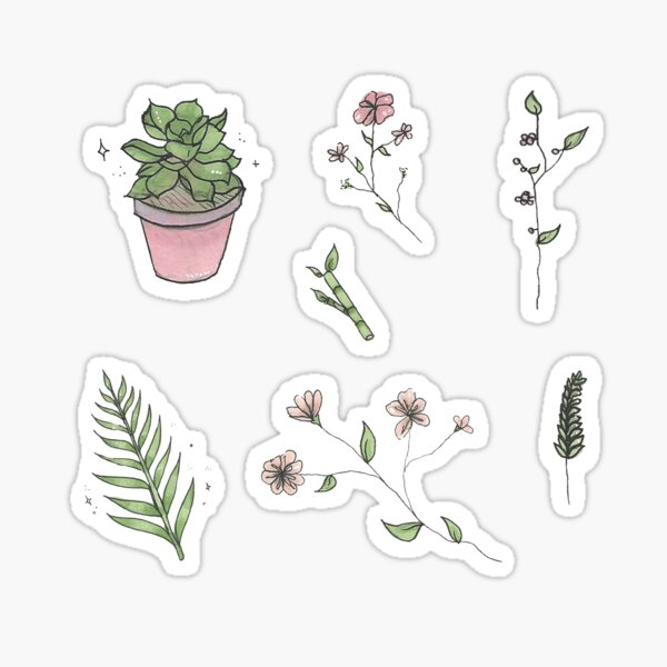 Plants and Flowers Sticker Sheet Sticker