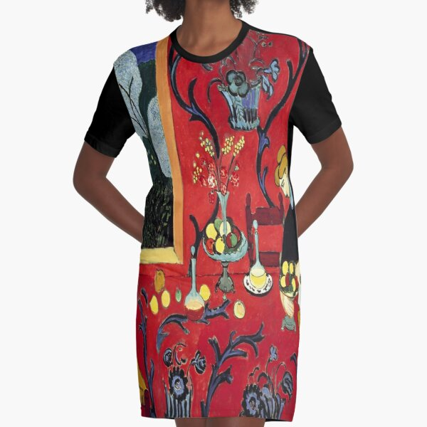 The Dessert: Harmony in Red (The Red Room)-Henri Matisse Graphic T-Shirt Dress