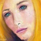 Painting of a Gorgeous Blonde Woman with Turquoise Eyes by ibadishi