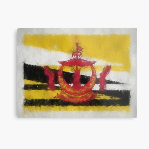 Brunei Darussalam Flag Reworked No. 66, Series 3 Metal Print