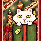 Vintage Style Christmas Gift Kitten by Jamie Wogan Edwards