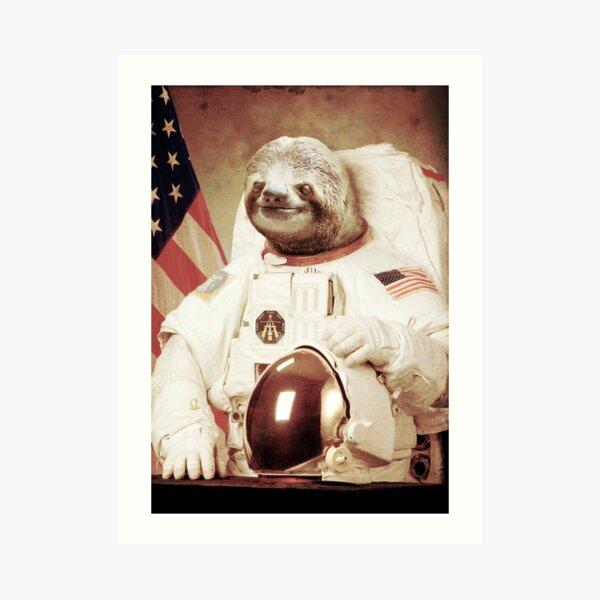 Astronaut Sloth Art Print