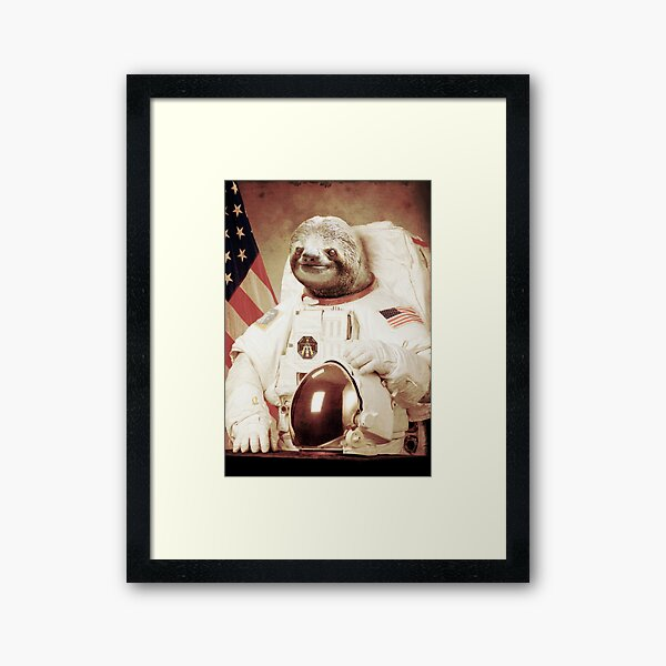 Astronaut Sloth Framed Art Print