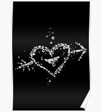 Water splash, heart with arrow, of water drops. Poster