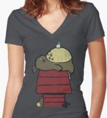 My neighbor Peanut Women's Fitted V-Neck T-Shirt