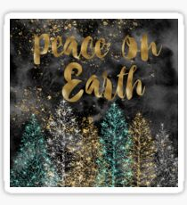 Peace on Earth - Christmas Gold and Black Design Sticker