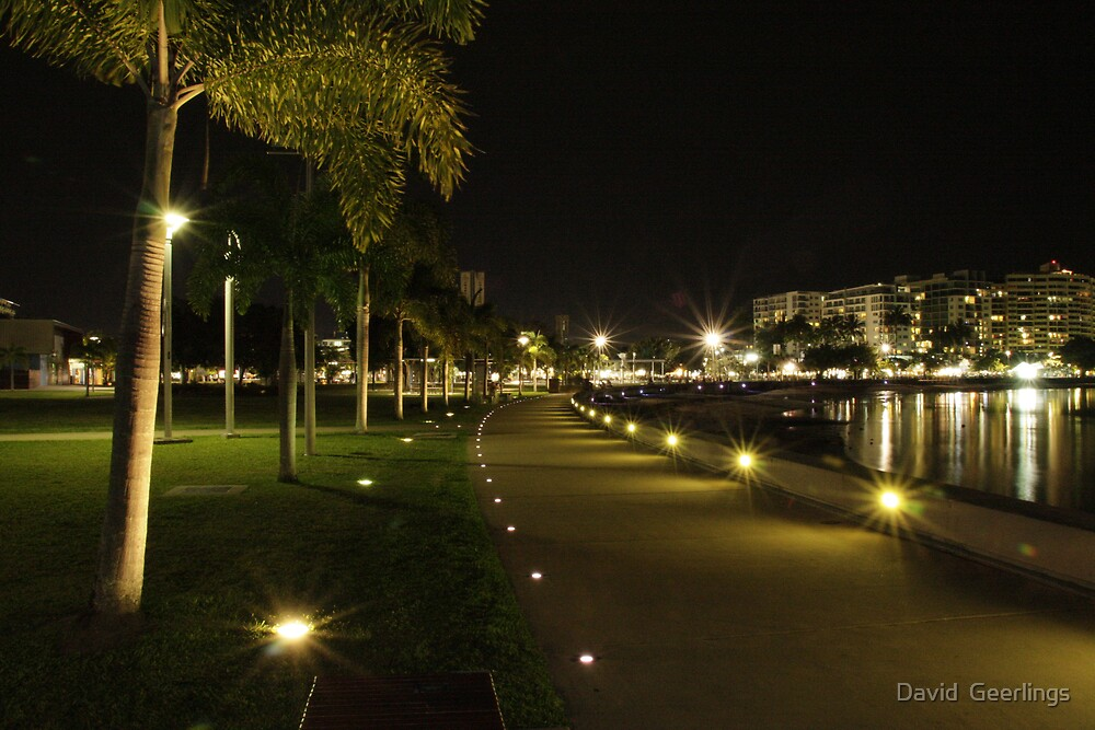 Cairns foreshore at night by David  Geerlings