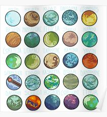 Star Wars Planets Pattern Poster