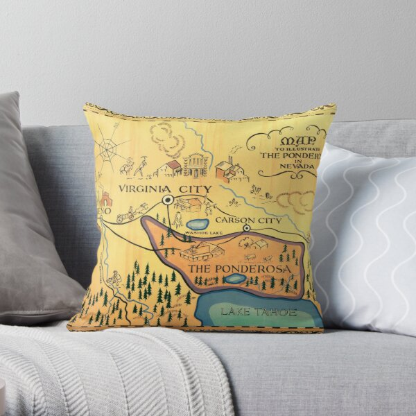 Map of The Ponderosa from 'Bonanza' Throw Pillow