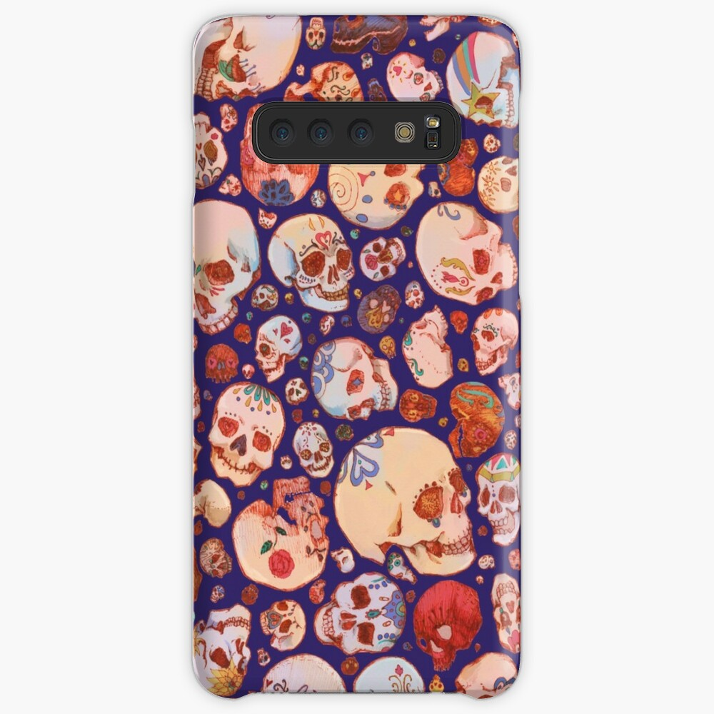 Skull Doodles - blue Case & Skin for Samsung Galaxy