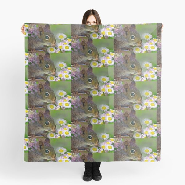 Flowers and Squirrel Scarf