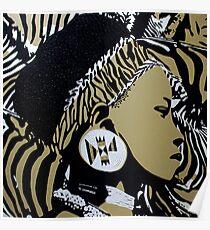 Zulu girl zebra print Poster