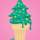 Christmas Tree Ice Cream Cone by Elizabeth Levesque