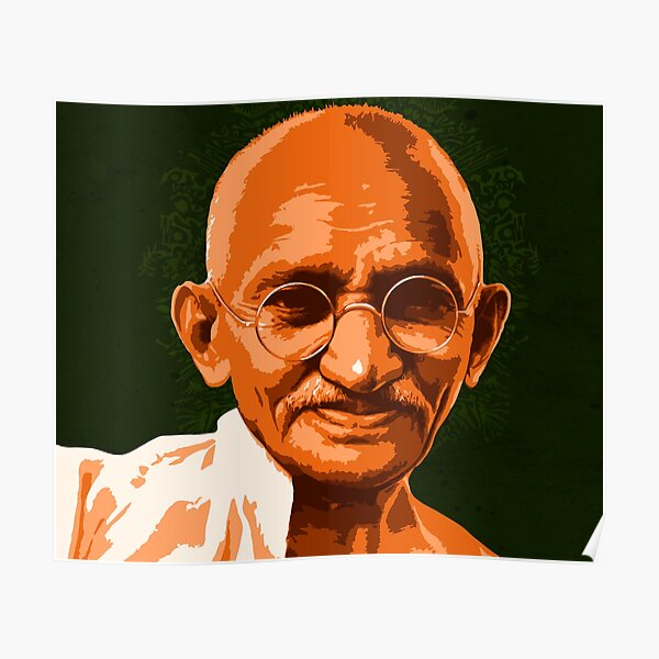 GANDHI ART PORTRAIT MENS T SHIRT MUHATMA INDIAN CIVIL RIGHTS PEACE LEADER ICON