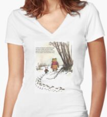 winnie the pooh famous quote piglet Women's Fitted V-Neck T-Shirt