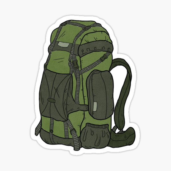 Green Hiking Backpack Sticker