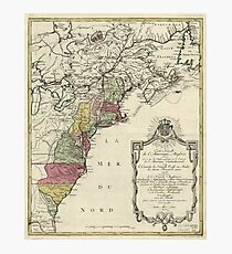Colonial America Map by Matthaus Lotter (1776) Photographic Print