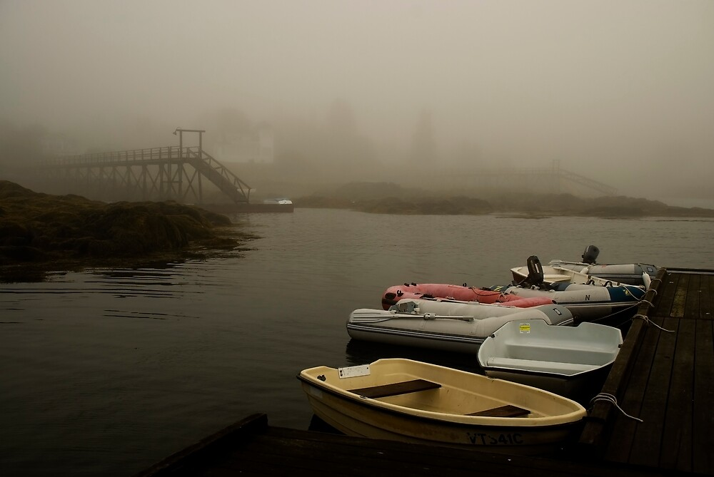 Fog and Dingies in Cape Harbor, Maine, on a Misty Morning by MarkEmmerson
