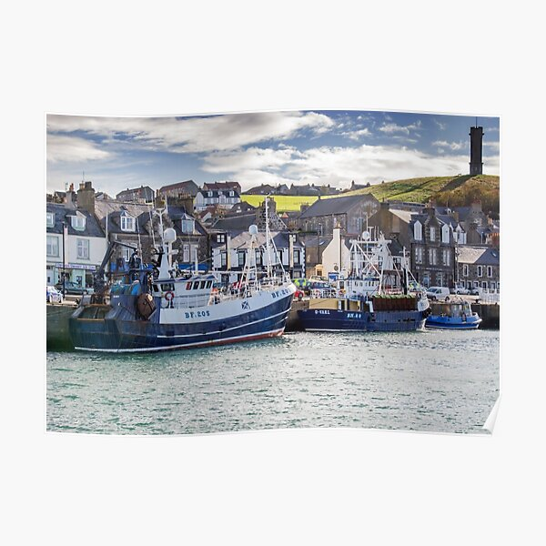 Fishing boats in Macduff harbour Poster