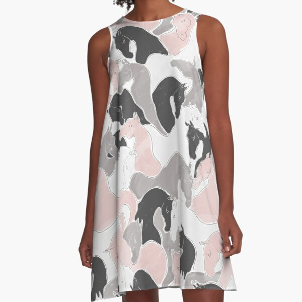 Playing Horses Pattern A-Line Dress