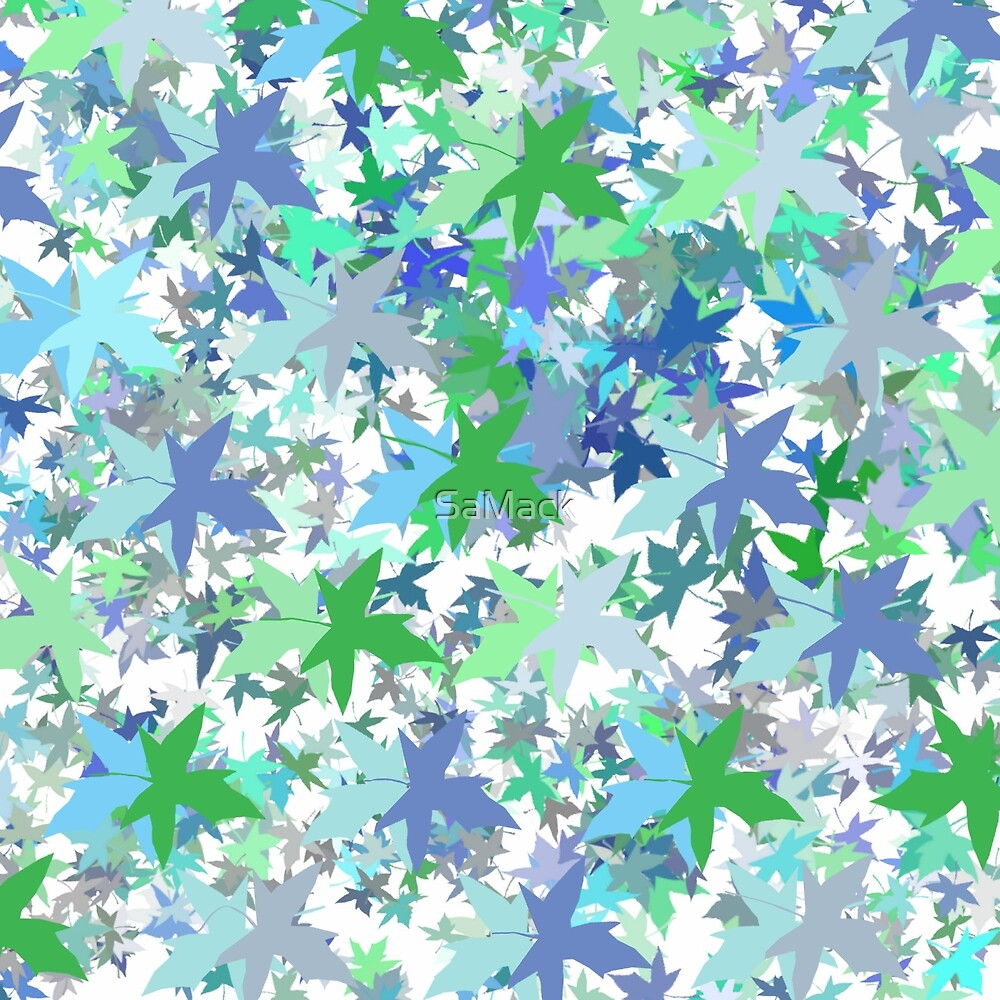 Shades of Blue and Green Leaf Pattern by SaMack