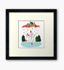 Cute Fun Snowman Merry Christmas  Framed Print