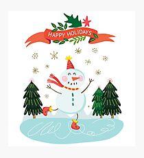 Cute Fun Snowman Merry Christmas  Photographic Print