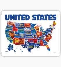 Awe Inspiring America Vintage Poster  Sticker