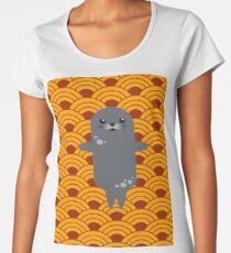 Little Seal Playing in a Bowl of Spaghetti Women's Premium T-Shirt