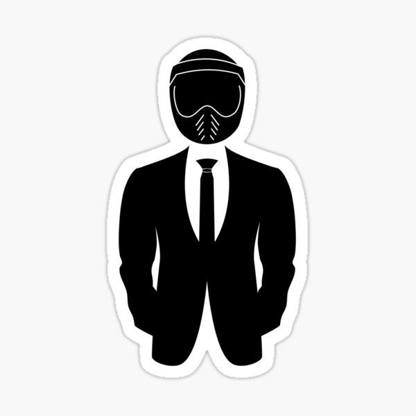 Biker Dapper Gentleman In Suit Motorcycle Helmet Sticker