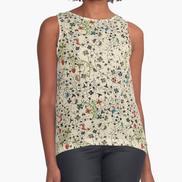 Medieval floral pattern – State Library Victoria Sleeveless Top