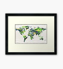 Watercolor Map Of The World Map Watercolour Silhouette Framed Print