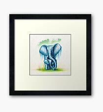 Elephant - Blue - Square Framed Print